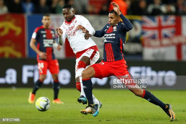 Bordeaux's Senegalese midfielder Younousse Sankhare vies for the ball with Caen's French forward Sylvio Ronny Rodelin during the French L1 football...