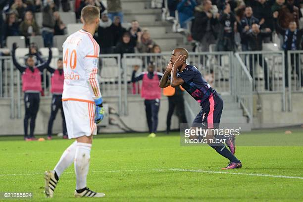 Bordeaux's Uruguyan forward Diego Rolan celebrates after scoring a goal during the French L1 football match between Bordeaux and Lorient on November...