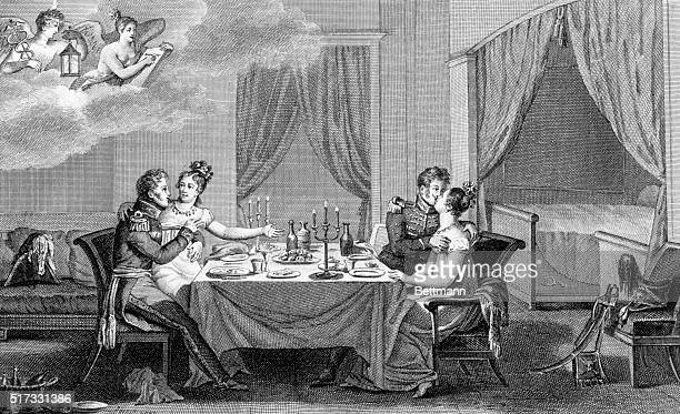 Bordello with two officers dining with their girlfriends, etc. Copper engraving, ca. 1810.