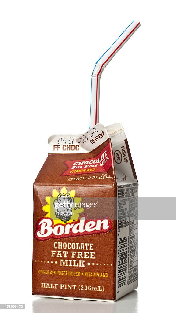Borden Chocolate Fat Free Milk half pint : Stock Photo