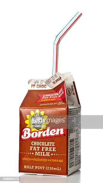 borden chocolate fat free milk half pint - milk carton stock photos and pictures