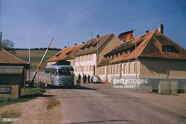 A border crossing between Switzerland and Germany circa 1965