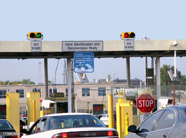 Border crossing with cars waiting to cross