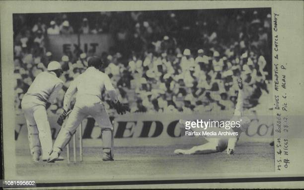 Border dives attempting to catch Coney off HiggsAllan Border dives in an attempt to catch Jeremy Coney in the third Test between Australia and New...