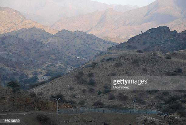 A border fence currently under construction by the Saudi Binladin Group sits along the border with Yemen near adDayir in Jazan province Saudi Arabia...