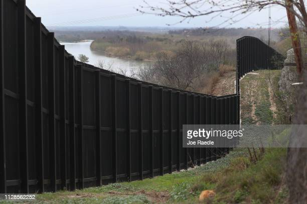 A border fence is seen near the Rio Grande which marks the boundary between Mexico and the United States on February 09 2019 in Eagle Pass Texas The...