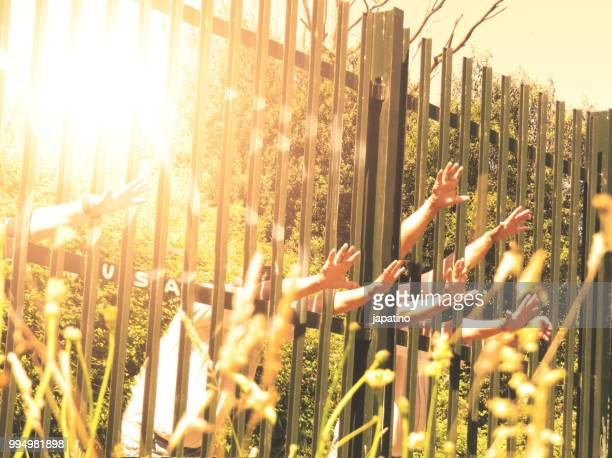 border fence wall against illegal immigration - emigration and immigration stock pictures, royalty-free photos & images