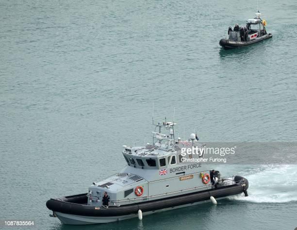 Border Force boats patrol Dover Harbour as British immigration minister Caroline Nokes visits UK Border force staff at Dover Marina on December 29...