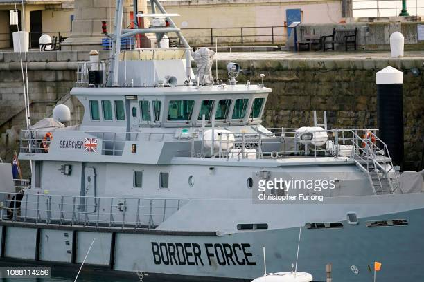 Border Force Cutter 'Search' berths at Ramsgate Harbour on December 30 2018 in Ramsgate England The growing number of migrants attempting to cross...