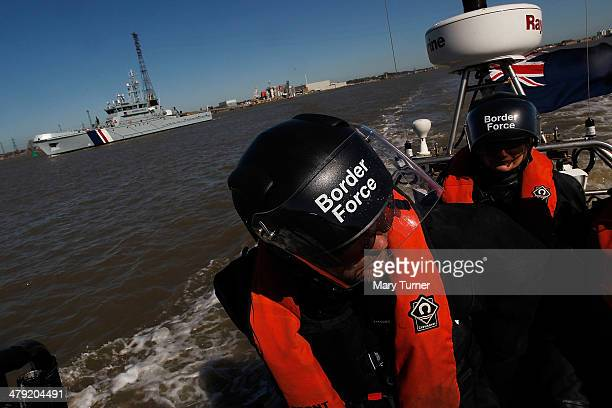 Border Force officers go out on patrol on a RIB which will be operating from the new cutter HMC Protector on March 16 2014 in London England The...