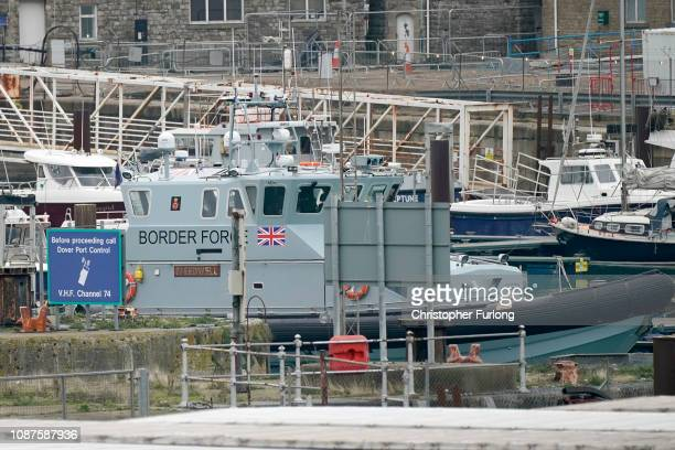 Border Force patrol boat sits in Dover Marina on December 28 2018 in Dover England The growing number of migrants attempting to cross the English...