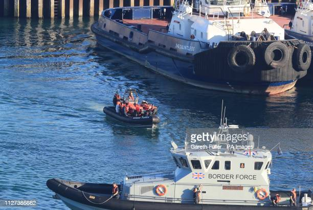 A Border Force RIB vessel arrives at Dover Marina following a small boat incident in the English Channel