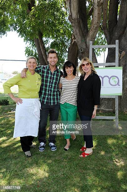 Border Grill chef and coowner Mary Sue Milliken singer Lance Bass actress Constance Zimmer and EMA President Debbie Levin attend The Environmental...