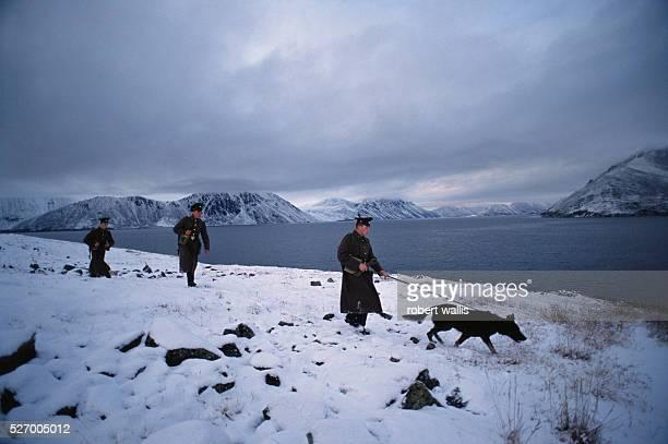 Border guards of ex-USSR patrolling along the Provideniya Bay and Bering Sea in the arctic Chutokta region.