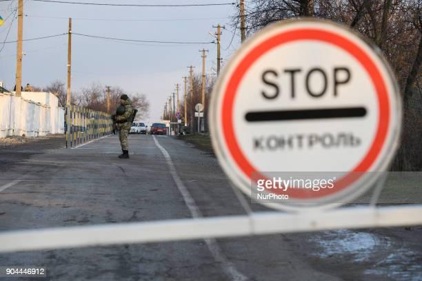 Border guards on Checkpoint quotHnutovequot in Hnutove village near Mariupol Ukraine on 12 January 2018