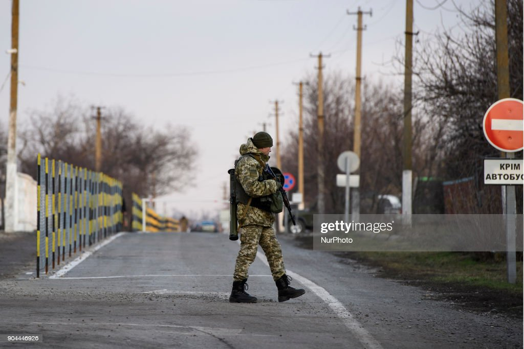"Border guards on Checkpoint ""Hnutove"" in Hnutove village, near Mariupol, Ukraine on 12 January 2018."