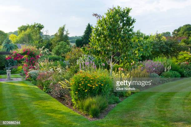 border of herbaceous planting - lawn stock pictures, royalty-free photos & images