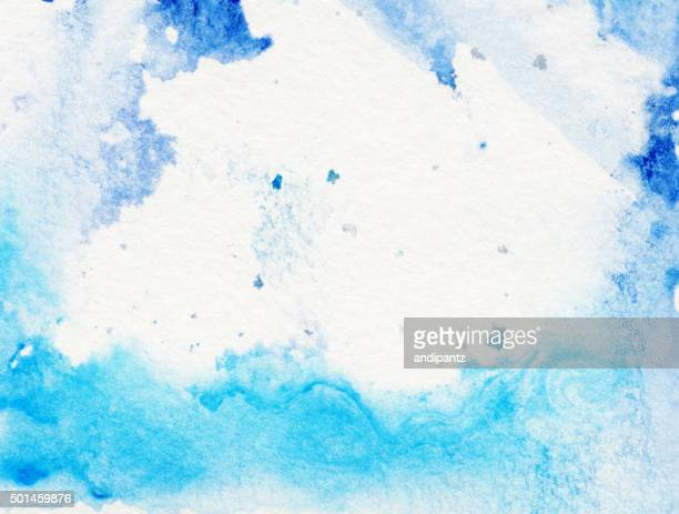 Border of hues of blue paint with white background