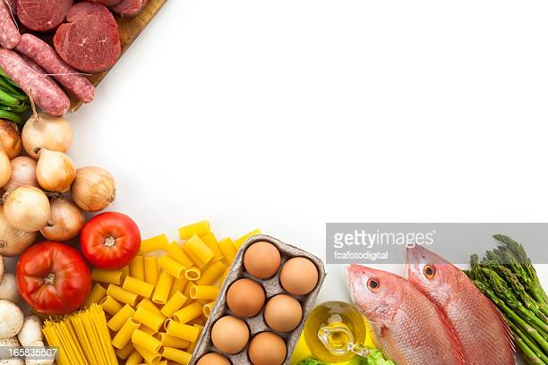 Border of various types of food with copy space