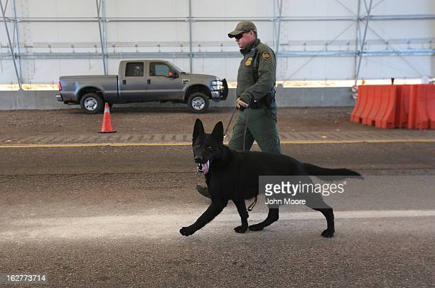 Border Patrol agent and drug sniffing German Shepherd, Jack-D, prepare to search vehicles for drugs at a checkpoint near the U.S.-Mexico border on...
