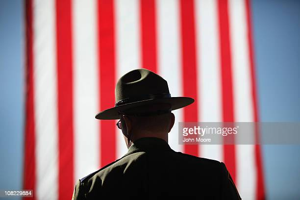 S Border Patrol agent arrives for a memorial service for slain comrade Brian Terry on January 21 2011 in Tucson Arizona Terry was killed during a...