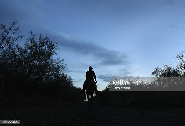 S Border Patrol agent ride near the USMexico border on August 16 2016 near Roma Texas Border security has become a main issue in the US Presidential...