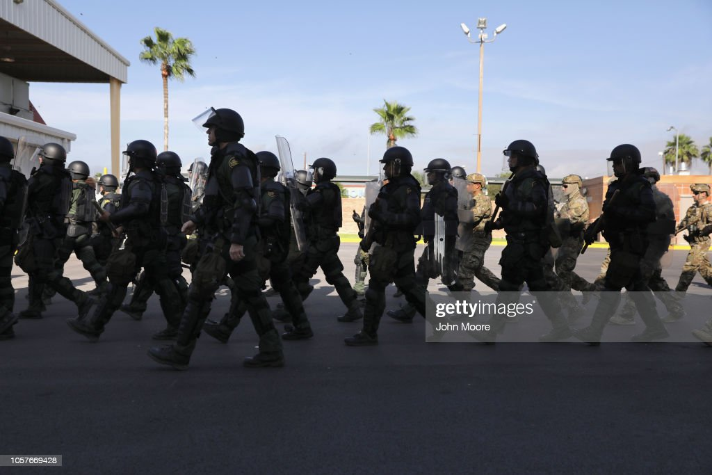 U.S. Customs And Border Protection Agents Train For Possible Immigrant Caravan : News Photo