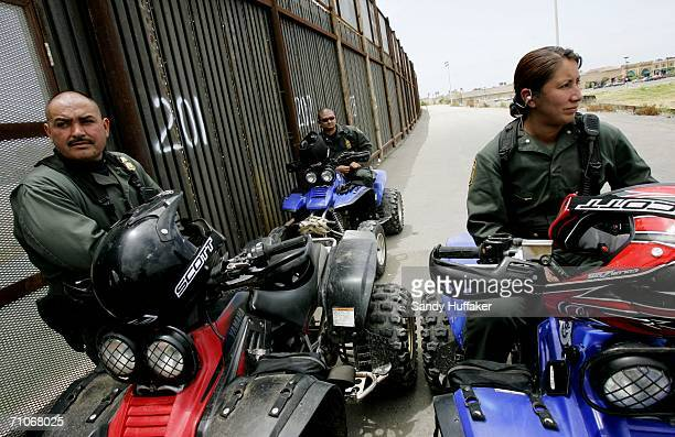 Border Patrol agents Martin Suro, Charles Cooper and Sylvia Rodriguez look for illegal activity along the border between The United States and Mexico...