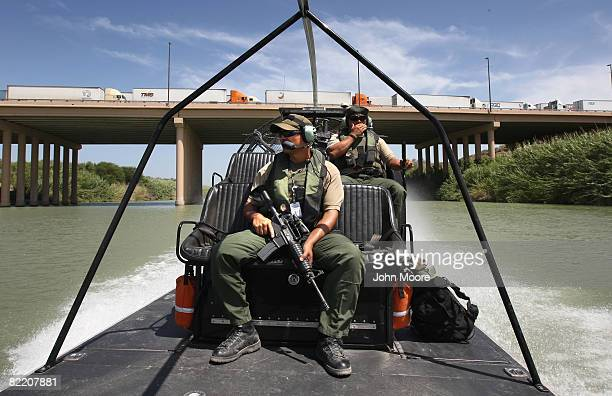 S Border Patrol agents patrol the Rio Grande River after passing under the World Trade Bridge from Mexico into the United States August 7 2008 in...