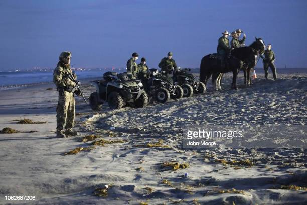 S Border Patrol agents stand vigil at the border with Mexico on November 16 2018 in San Diego CA as seen from Tijuana Mexico US border agencies...