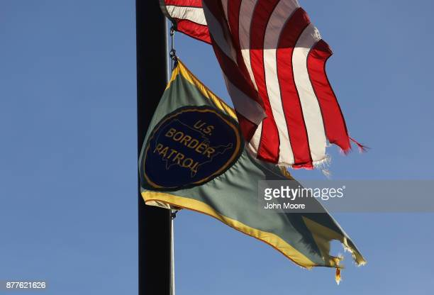 S Border Patrol flag hangs in front of the sector office in the Big Bend area of west Texas on November 22 2017 near Van Horn Texas Federal agents...
