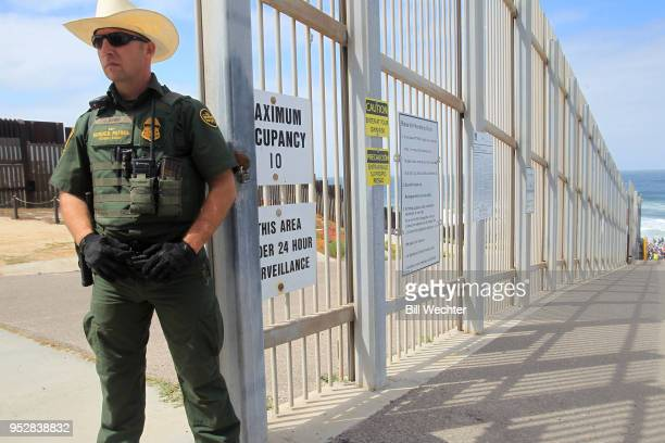 Border Patrol officer guards the entrance to Friendship Park which has many restrictions on April 29 2018 in San Diego California More than 300...