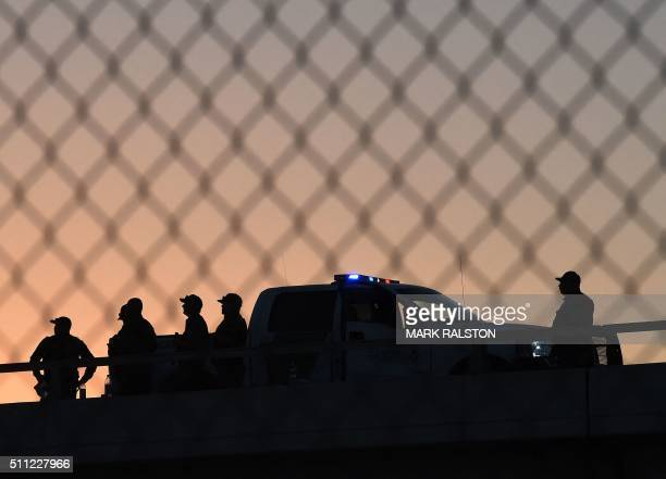 US Border Patrol officers keep along the border fence separating US and Mexico in the town of El Paso Texas on February 17 2016 Pope Francis...