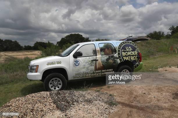 S Border Patrol recruiting vehicle sits parked at the Bandera Gun Club during a shooting contest on April 13 2017 in Bandera Texas The gun...