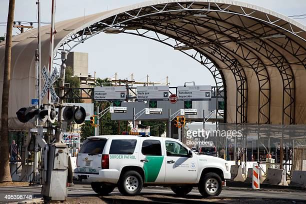 A Border Patrol sports utility vehicle sits at the US Border Inspection Station in Calexico California US on Monday Oct 12 2015 Among Rabobank's 119...