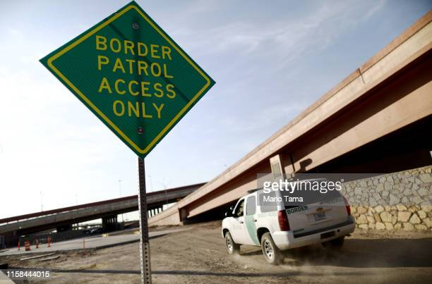 Border Patrol vehicle passes a 'Border Patrol Access Only' sign near the U.S.-Mexico border on June 26, 2019 in El Paso, Texas. Acting commissioner...
