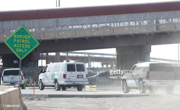 Border Patrol vehicles pass a 'Border Patrol Access Only' sign near the U.S.-Mexico border on June 26, 2019 in El Paso, Texas. Acting commissioner of...
