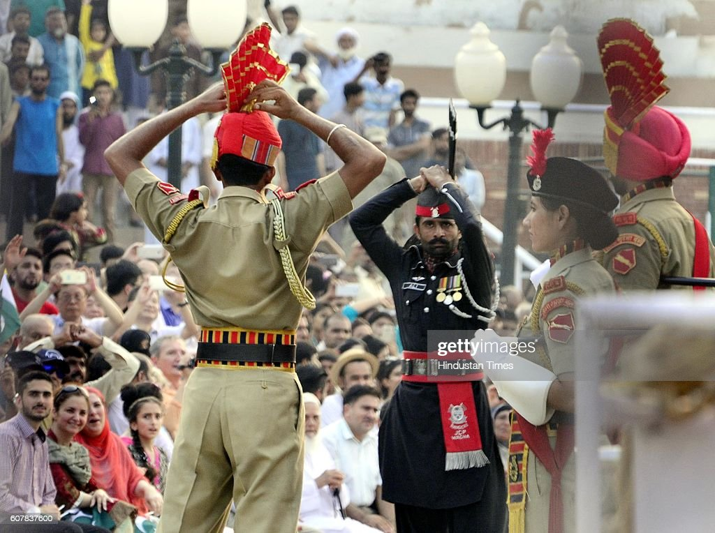 Border Security Force Jawans and Pakistan Rangers during the Beating Retreat Ceremony at Attari Border on September 19 2016 in Amritsar India Each...
