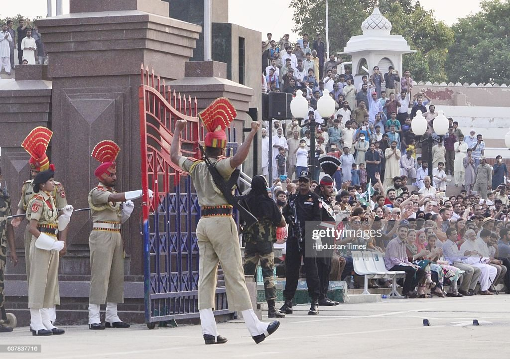 Border Security Force Jawans during the Beating Retreat Ceremony at Attari Border on September 19 2016 in Amritsar India Each day more than 30000...
