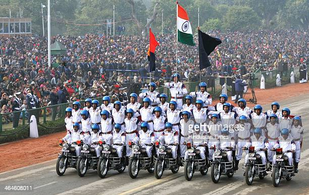 Border Security Force Jawans shows their skills at the saluting base during the full dress rehearsal for Republic Day Parade at Rajpath on January 23...