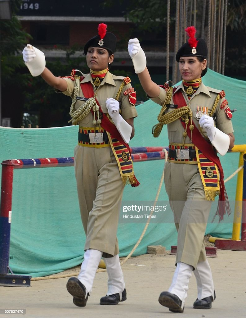Border Security Force women soldiers marching during the Beating Retreat Ceremony at Attari Border on September 19 2016 in Amritsar India Each day...
