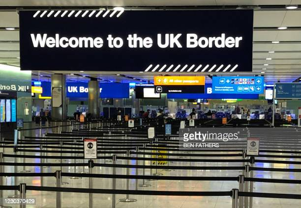 Border sign welcomes passengers on arrival at Heathrow airport in west London on December 31, 2020. - Brexit becomes a reality at 2300GMT on December...