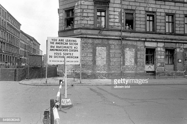 Border to East Berlin in Luckauer Straße in Kreuzberg The windows in the basement of the house are bricked up around 1961