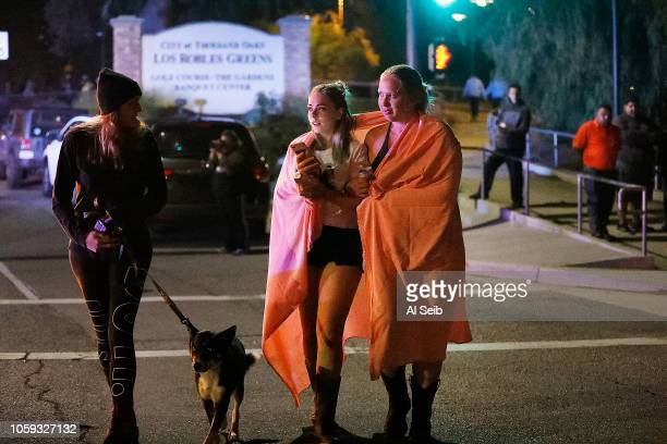 Borderline attendees leave the scene outside the shooting scene at the Borderline mass shooting on November 8, 2018 in Thousand Oaks, California....