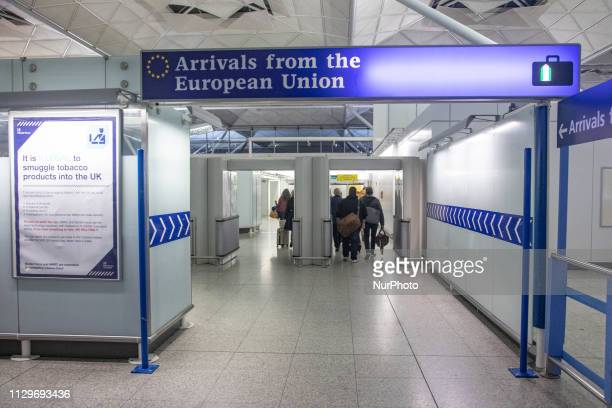 EU UK Borders and European Union signs in London Stansted STN airport in England UK