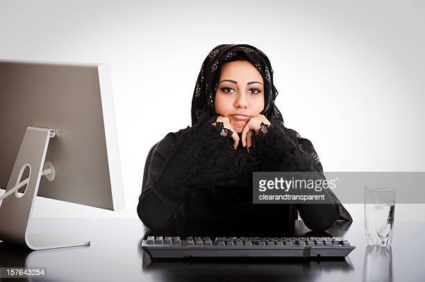 bored arabic office girl - beautiful arab girl stock photos and pictures