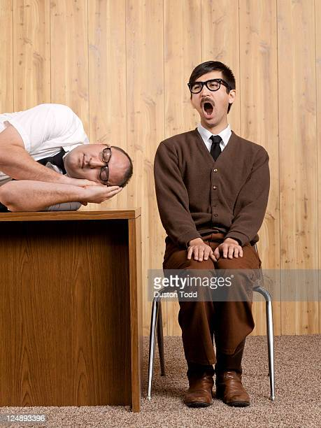 Bored businessmen resting in office