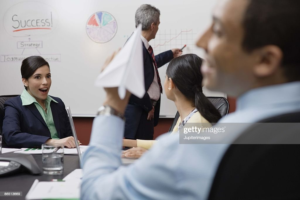 Bored businesspeople in meeting : Stock Photo