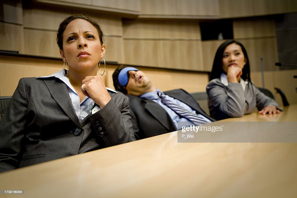 Bored or tired businessman falls asleep : Stock Photo