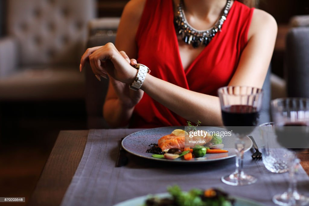 Bored Woman Alone at Restaurant : Stock Photo